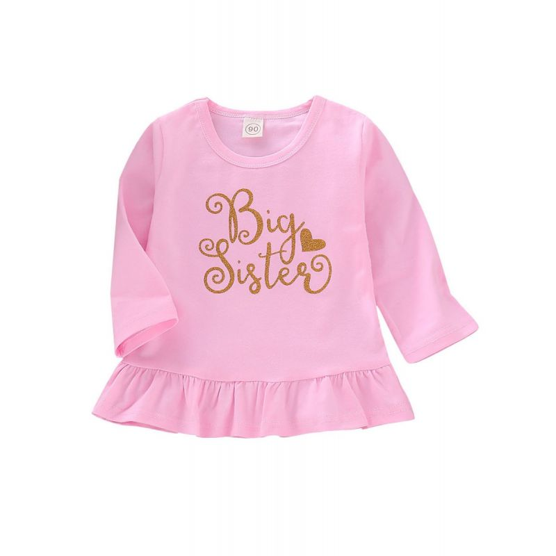 Spring Gold Big Sister Print Ruffle-hem Long-sleeved Toddler Little Girl  Pink Dress
