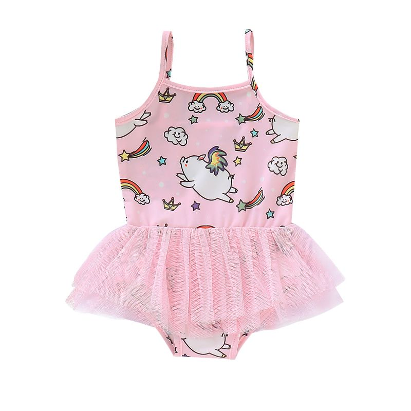 Infant Little Girl Cartoon Rainbow Pig One-piece Swimming Suit Kids Bathing Suit