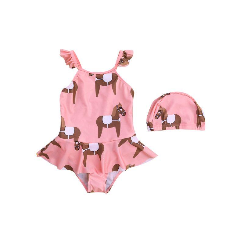 2-Piece Horse Print Toddler Kids' Summer Swimsuit Set Frilled Hem Swimsuit+ Swim Cap