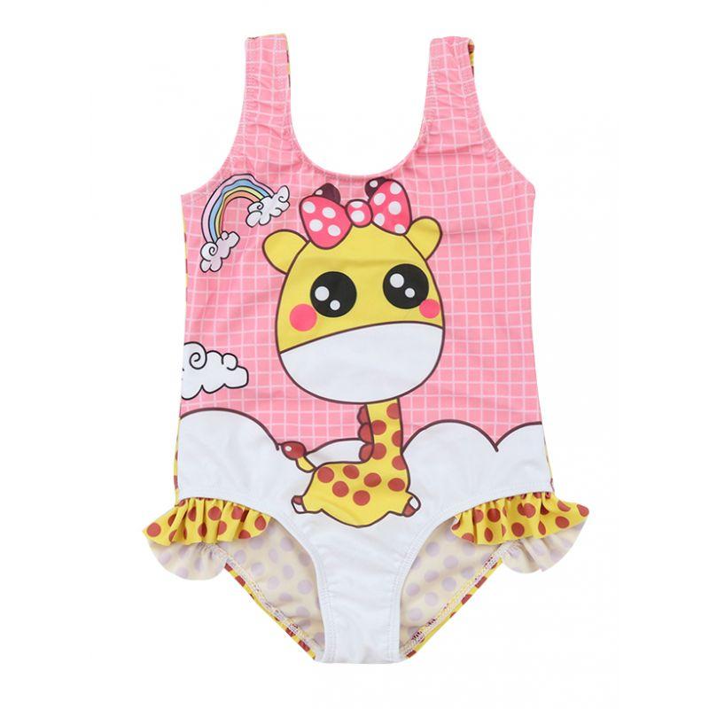 Kids Baby Girls Rainbow Giraffe Print Bathing Suit One-Piece Swimsuit