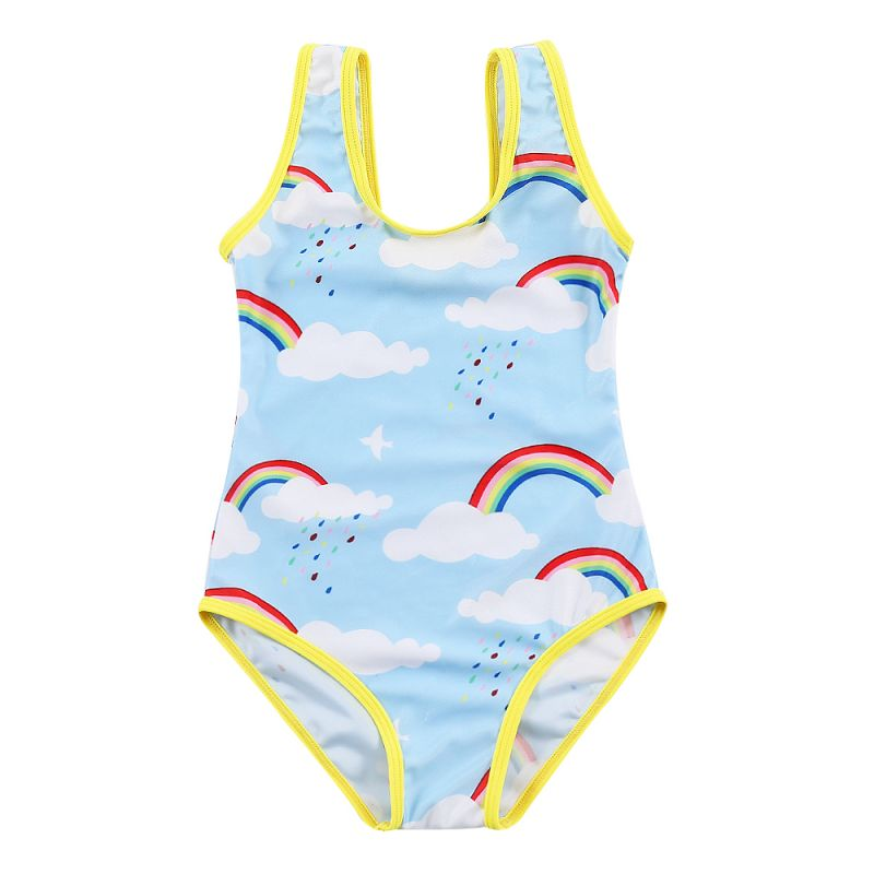 Little Big Girl Rainbow Print Bathing Suit Summer Beach Wear