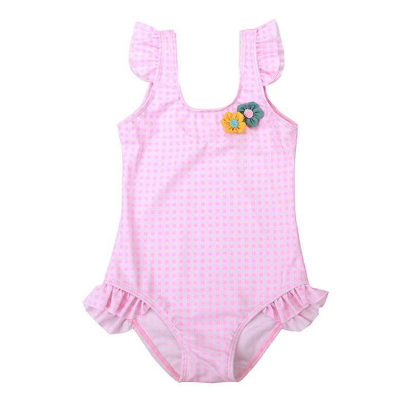 Cute Ruffle Checked Flower One Piece Swimsuit Toddler Big Kids Swimwear Bathing Suit