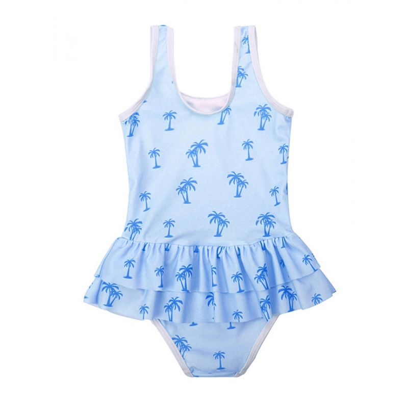 Hawaii Style Coconut Tree Print Children One-piece Swimming Suit Girls Swimwear Beach Wear