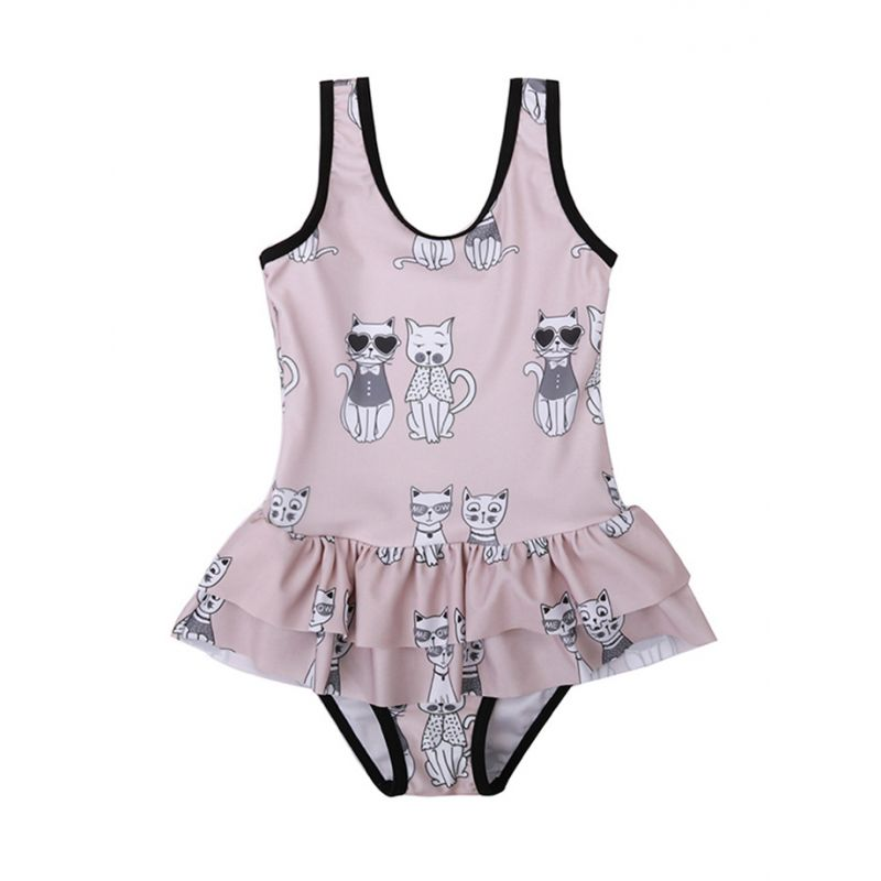 Cute Cat kids Bathing Costume Little Girl One-piece Swimming Suit