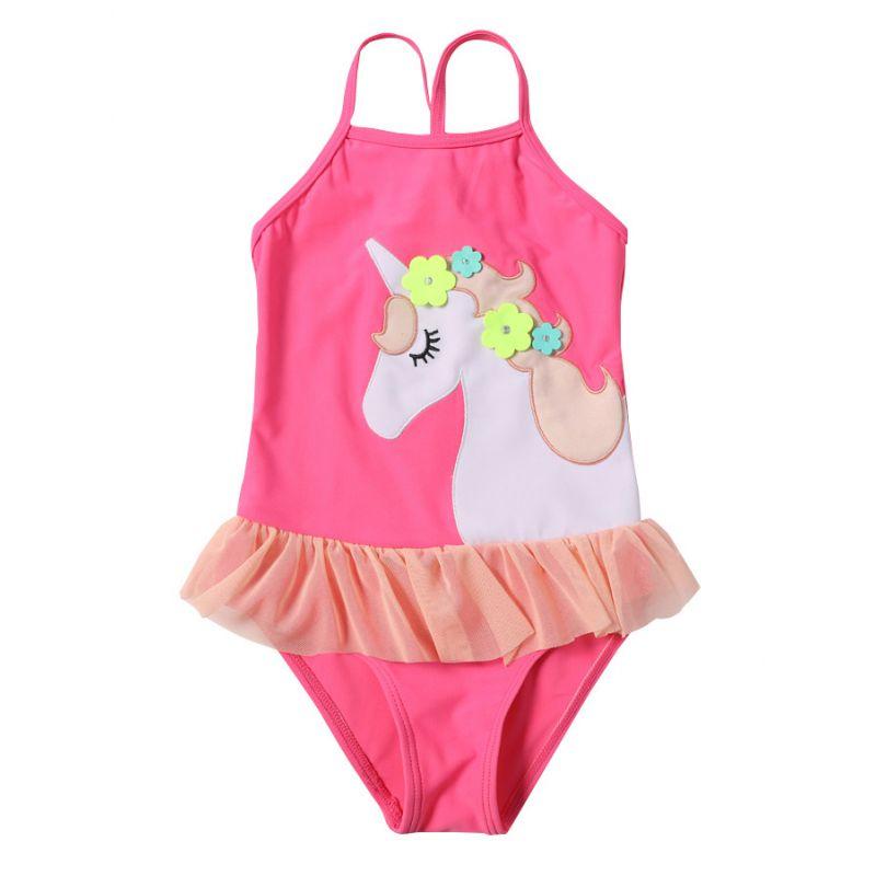 Frilled Hem Unicorn Girls One Piece Swimwear Kids Summer Beach Wear