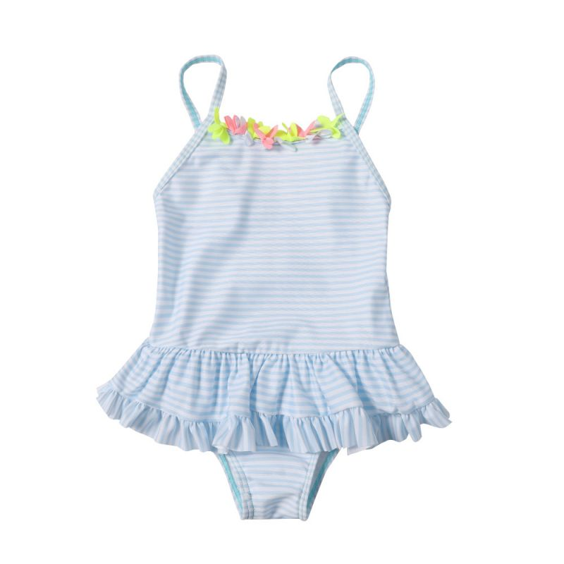 Frilled Hem Flower Trimmed Kids One Piece Swimming Suit Toddler Little Girl Summer Beach Wear