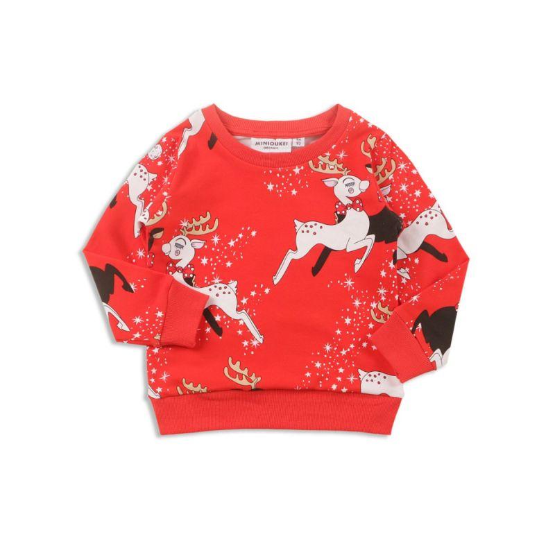 Boys Girls Christmas Reindeer Print Jumper Children Pullover