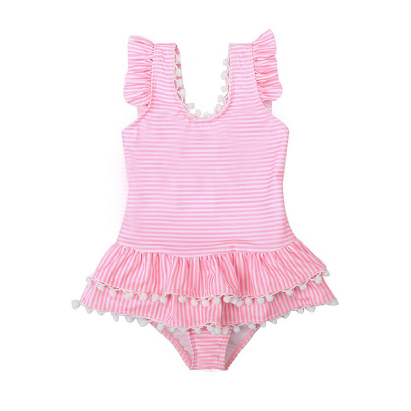 Pom Pom Trimmed Stripe Ruffle Bow One-piece Swimming Suit Toddler Little Girl Bathing Suit
