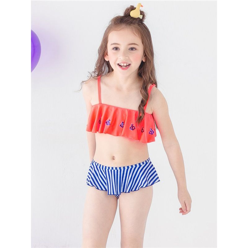 2-piece Cute Frilled Hem Little Big Girl Bikini Set Kids Tankini