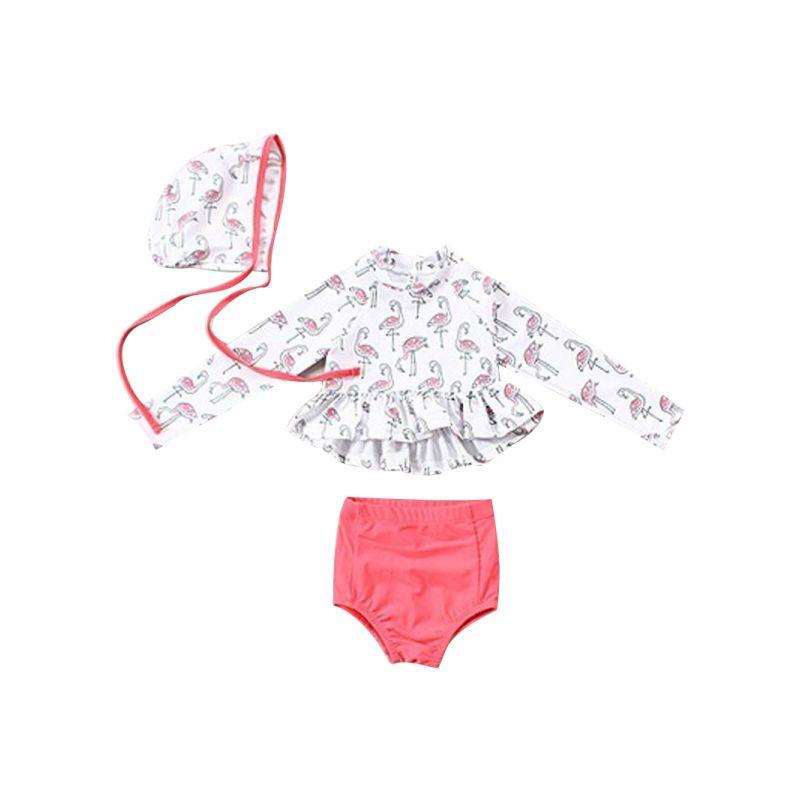 3-Piece Swimsuit Set Long-sleeved Cartoon Flamingo Print Ruffle Top+Shorts + Swim Cap