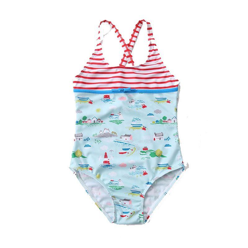 Little Girls Cartoon Printed Cross Bathing Suit Beachwear