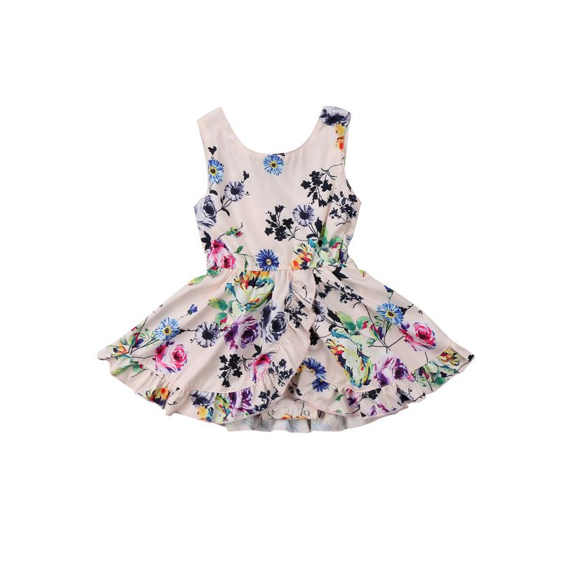 Summer Baby Little Girl Sleeveless Flower Print Dress