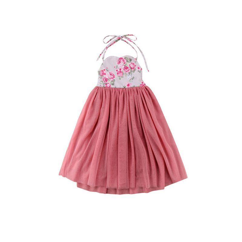 Summer Infant Little Girl Lace Up Dress Tulle Patchwork Flower Halter Neck Party Dress