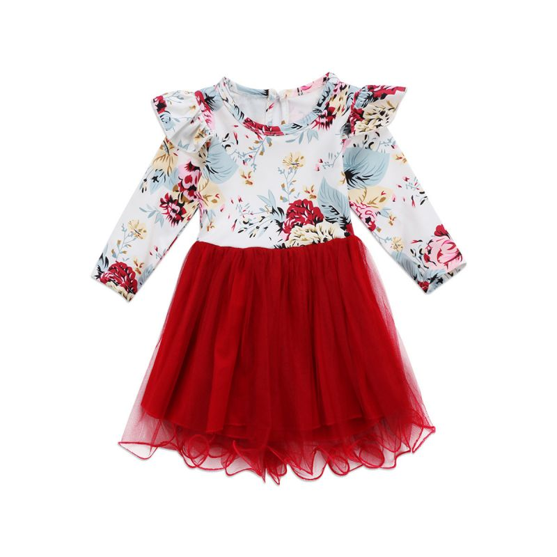 Spring Tulle Patchwork Flutter Long-sleeved Infant Little Girl Princess Party Dress