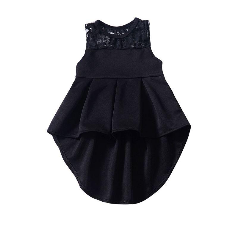 Summer Baby Little Girl Vintage Black Sleeveless Asymmetrical Hemline Dress