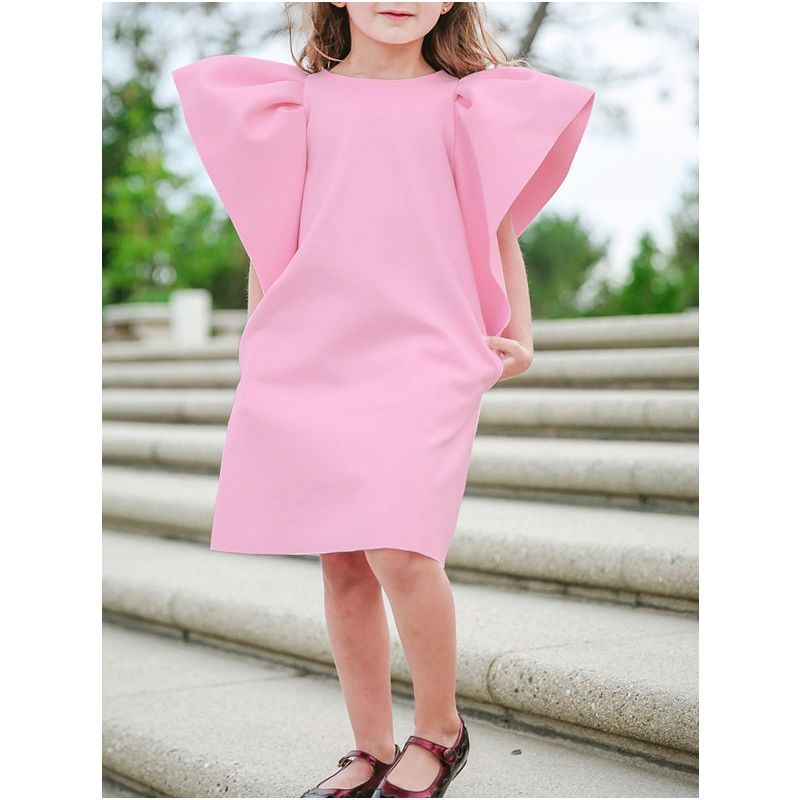 Baby Little Girl Pink/Blue Short Flutter Sleeve Shift Dress
