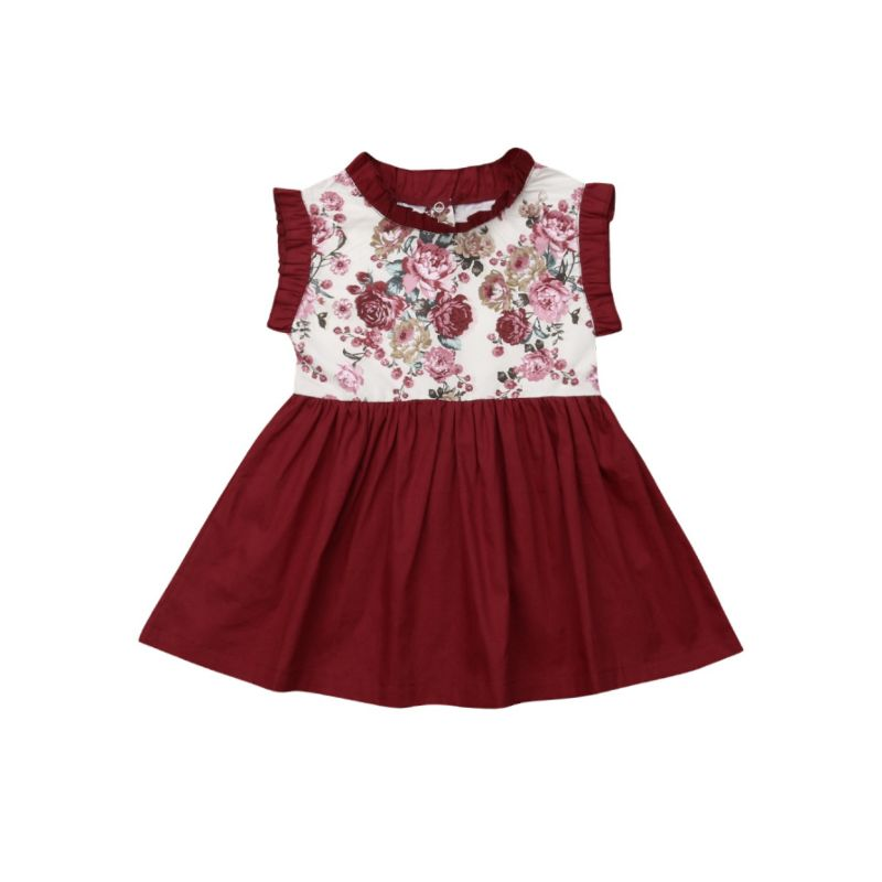 Toddler Baby Girl Flower Print Frilled Dress for Summer