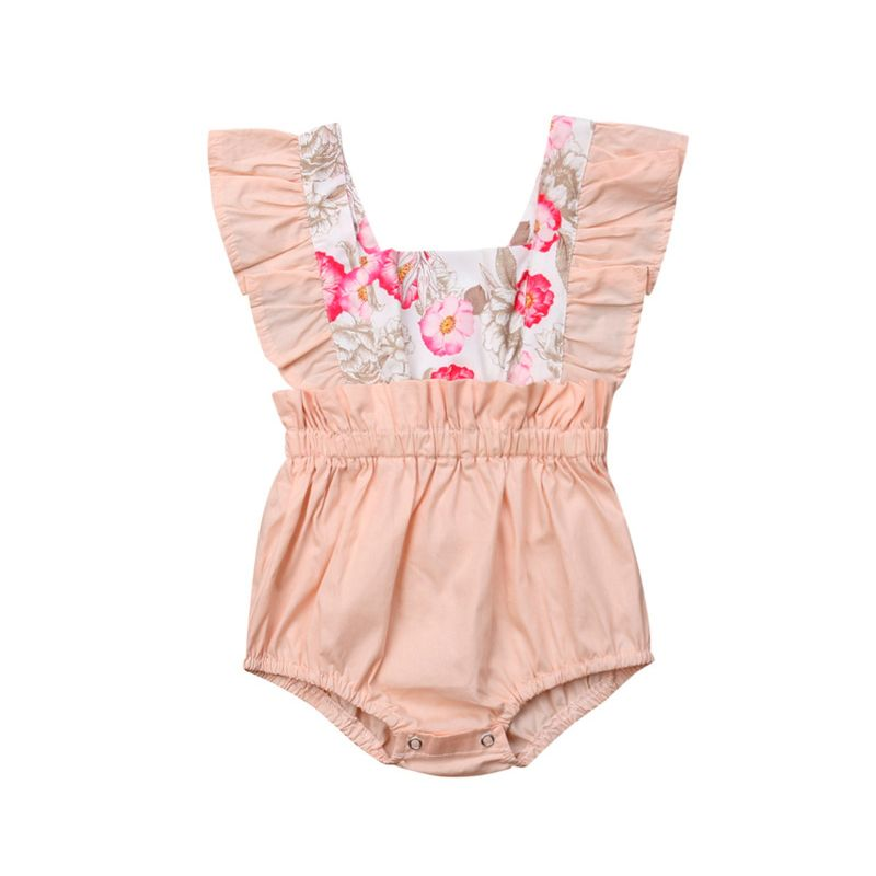 Fashion Flower Print Frilled Baby Girl Bodysuit Onesie
