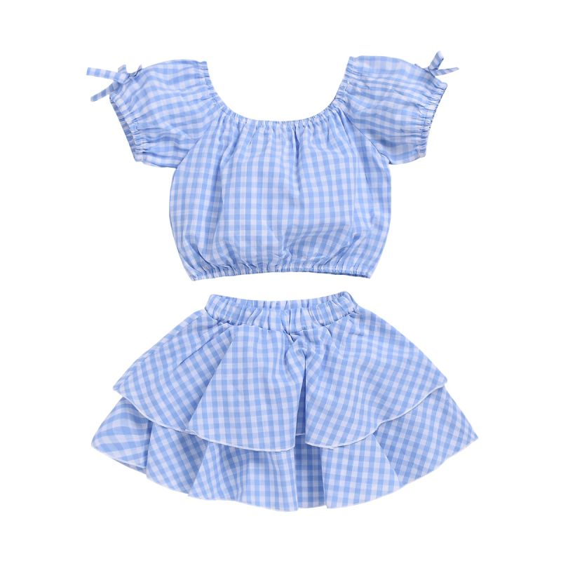 2-piece Summer Infant Girl Clothes Outfits Set Short Puff-sleeved Plaid Short Top+Mini Skirt