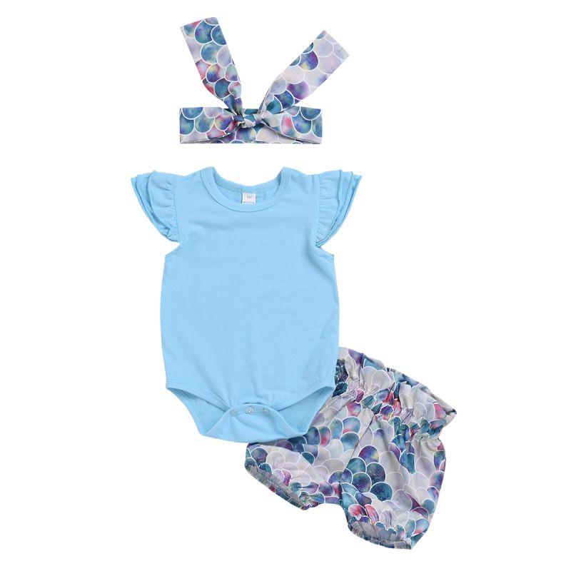 3-piece Infant Girl Summer Clothes Outfits Set Blue Short Flutter Sleeve Romper + Printed Shorts +Headband