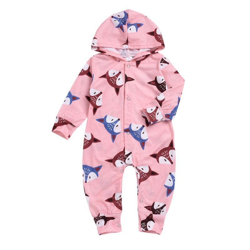 Cute Spring Fox Hooded Baby Jumpsuit Overalls
