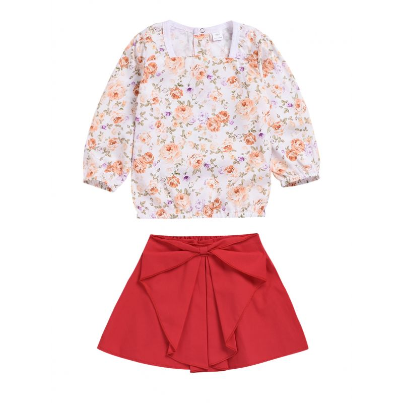 2-piece Spring Baby Little Girl Casual Clothes Outfits Set Floral Long-sleeved Blouse Top +Big Bow Red Skirt