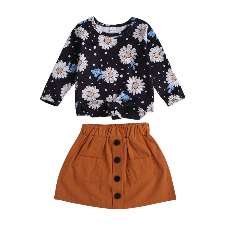2-piece Spring Infant Toddler Girl Clothes Outfits Set Flower T-shirt+Buttoned Solid Color Skirt
