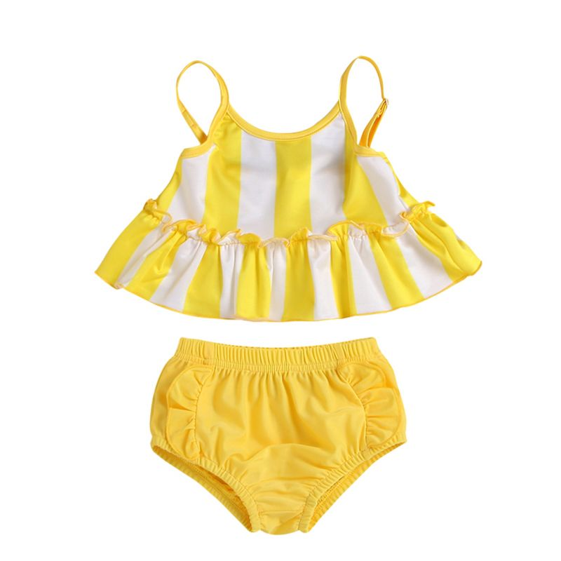 2-piece Summer Baby Toddler Girl Clothing Outfits Set Striped Ruffle Suspender Top +Yellow Brief