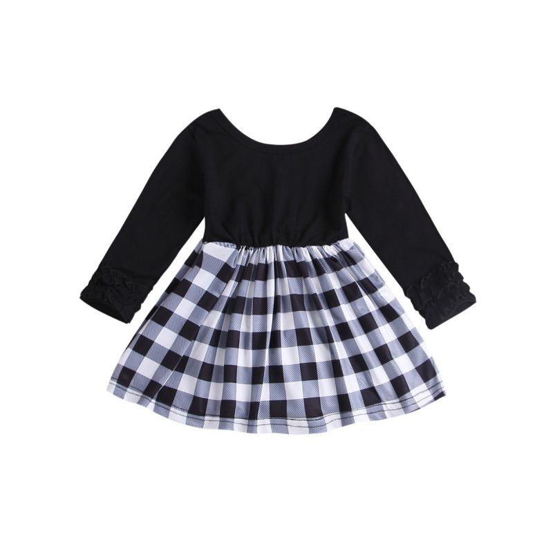Spring Infant Girl Casual Checked Long-sleeved Dress