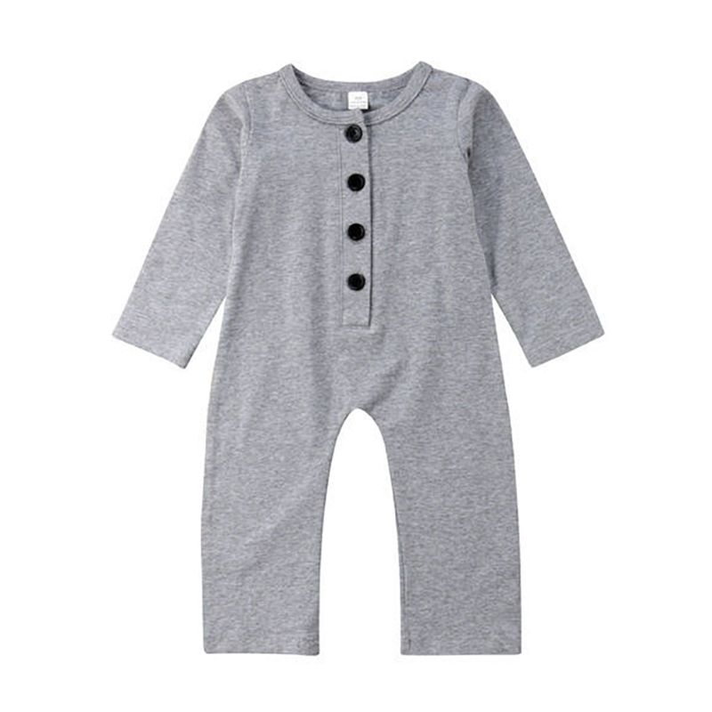 Spring Solid Color Buttoned Long-sleeved Baby Overalls Black/Grey/White