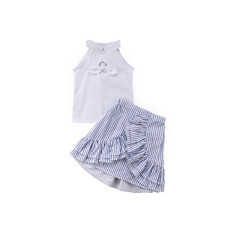2-Piece Toddler Infant Girl White Bow Tank Top + Frilled Asymmetrical Hemline Wrap Around Skirt Set
