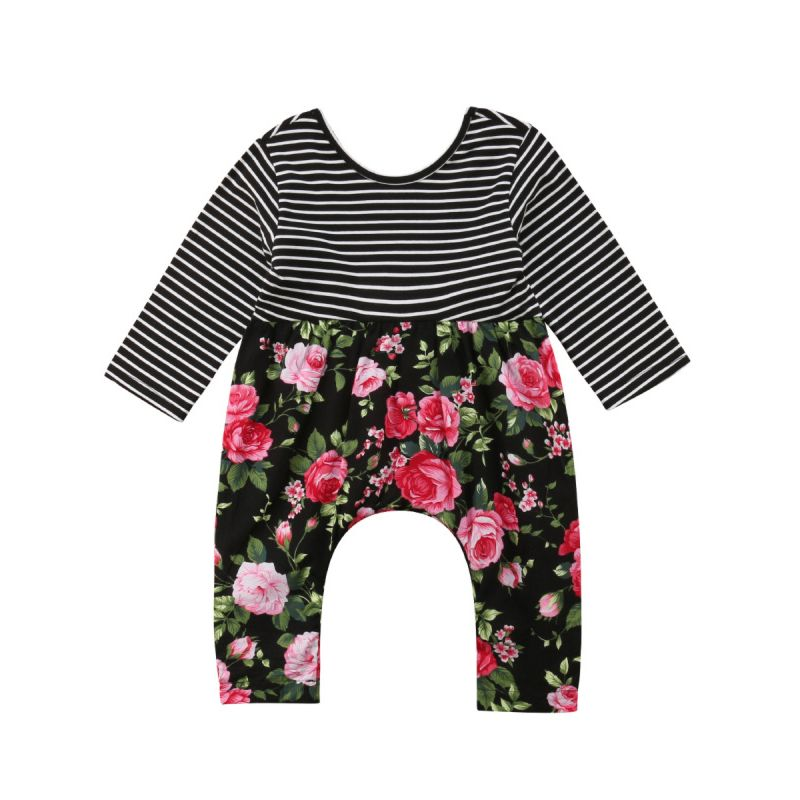 Baby Girl Long-sleeved Striped Flower Print Overalls Jumpsuit