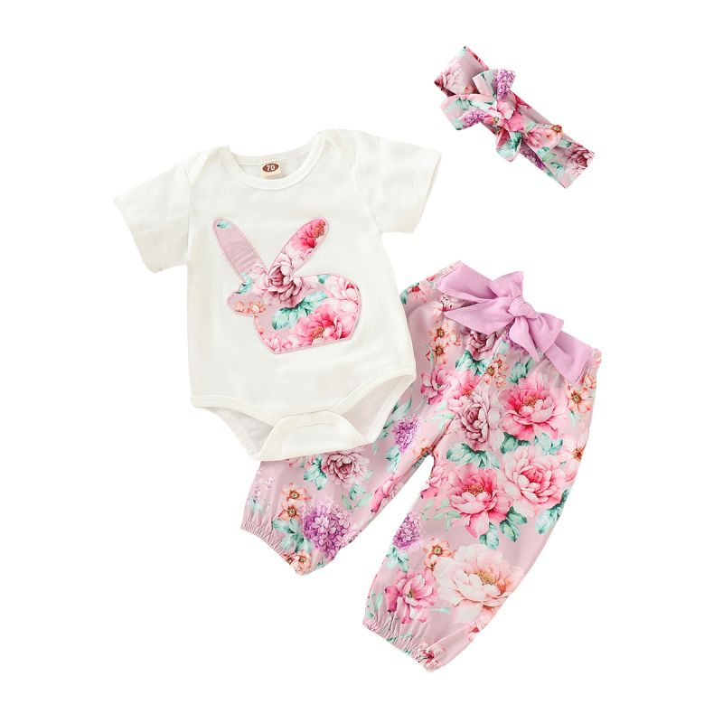 3-piece Spring Summer Baby Girl Easter Clothes Outfit Set Short-sleeved Flower Bunny Bodysuit+Bow Floral Pants+Headband