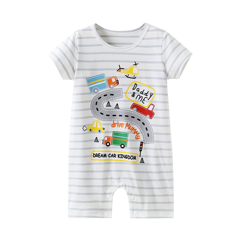 DADDY & ME Cartoon Car Striped Short-sleeved Baby Jumpsuit Romper