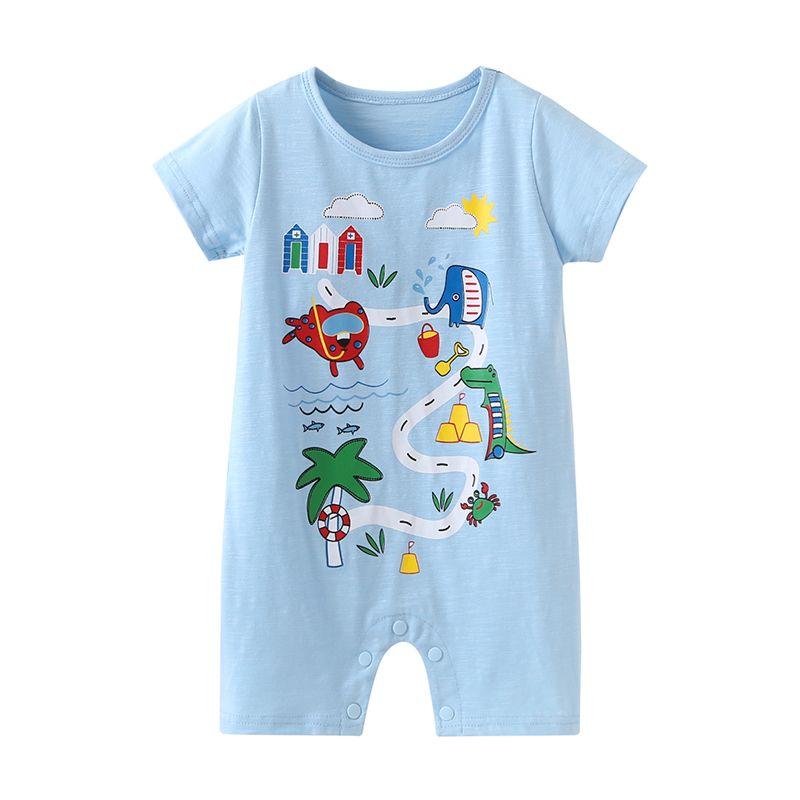 Summer Infant Boy Cartoon Print Short-sleeved Jumpsuit Romper