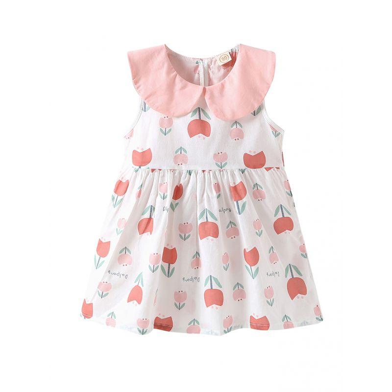 Peter Pan Collar Flower Print Zip-up Sleeveless Baby Dress