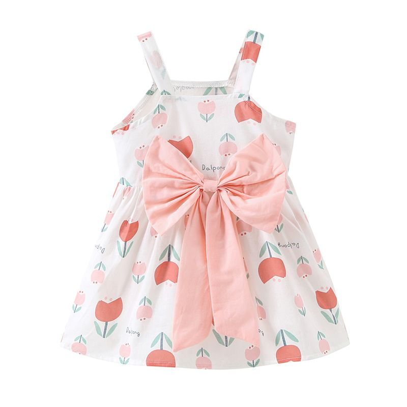 Summer Flower Print Big Bowknot Spanish Style Baby Suspender Dress