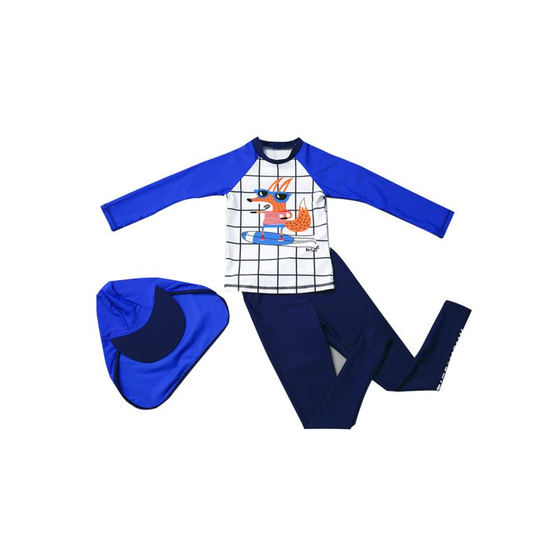 3-piece Toddler Big Boys Cartoon Fox Diving Suit Kids Sun Protection Swimwear Set