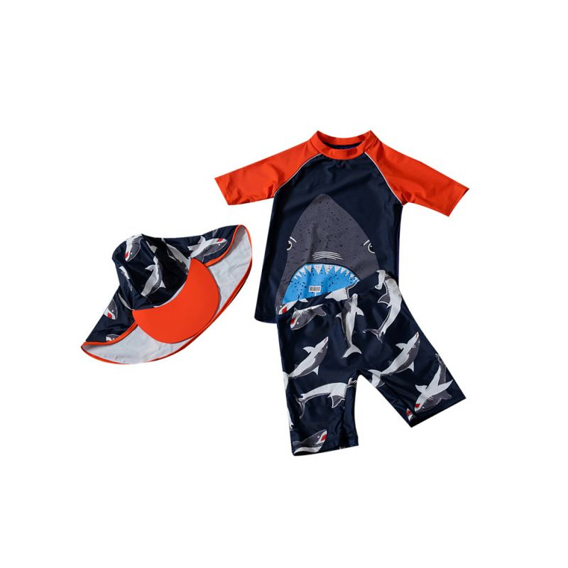 3-piece Little Big Boys Cartoon Shark Wetsuit Children Sun Protection Clothing and Swimwear Set