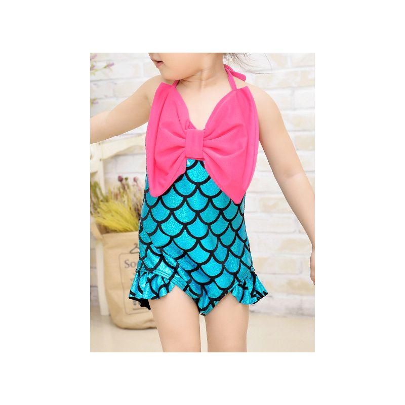 Toddler Kids Girls Halter Neck Mermaid Shell Bikini Swimsuit