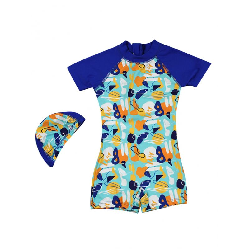 2-piece Printed Bathing Suit Children Sun Protection Clothing and Swimwear Set