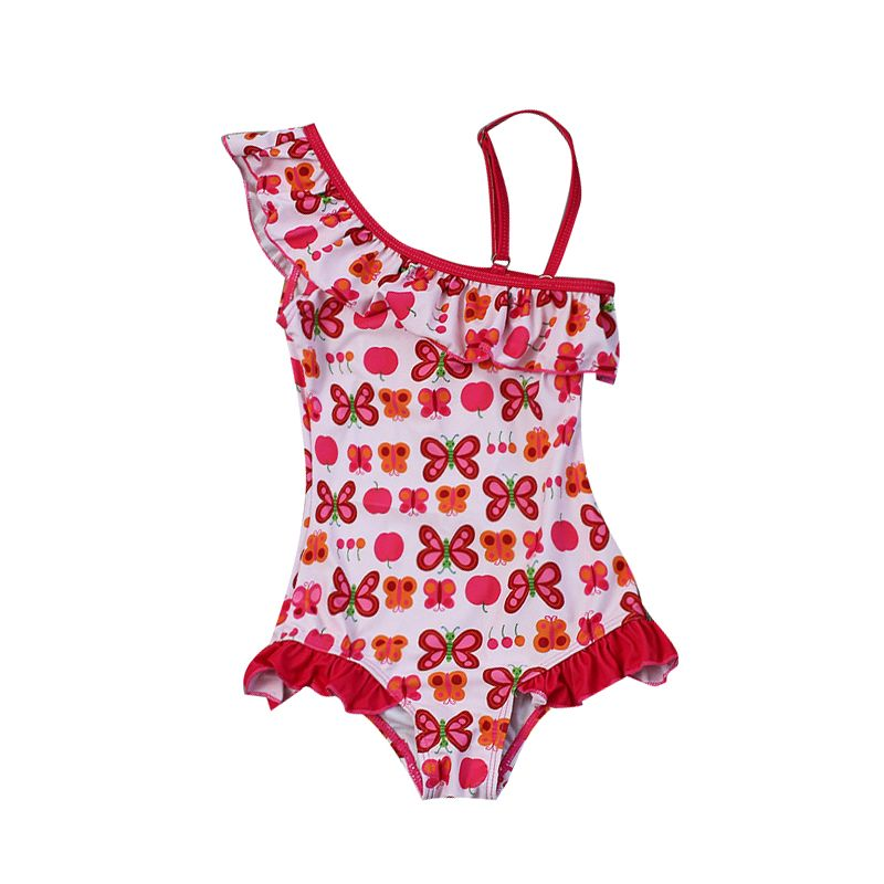 Little Big Girl Butterfly Frilled One Shoulder Swimsuit Swimwear