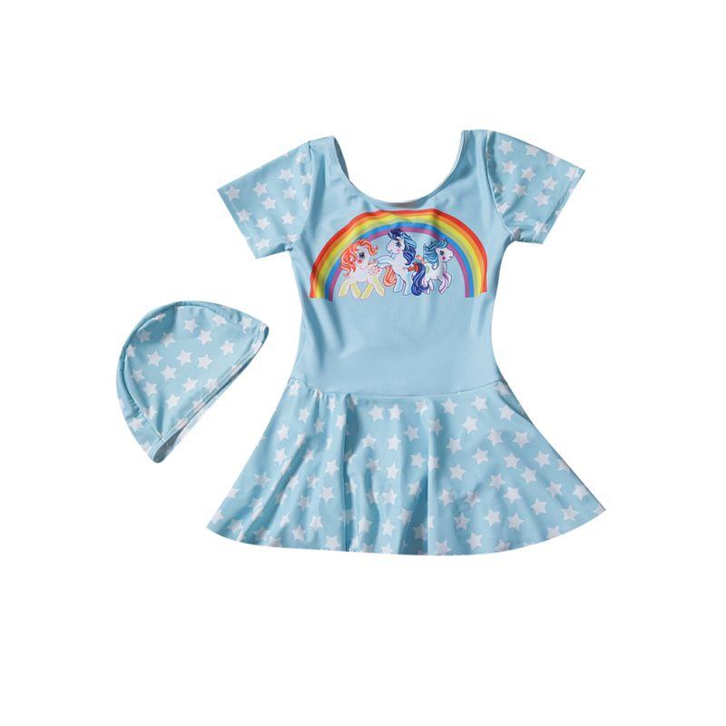 Baby Little Girl Rainbow Unicorn One-piece Swimsuit with Star Swim Cap