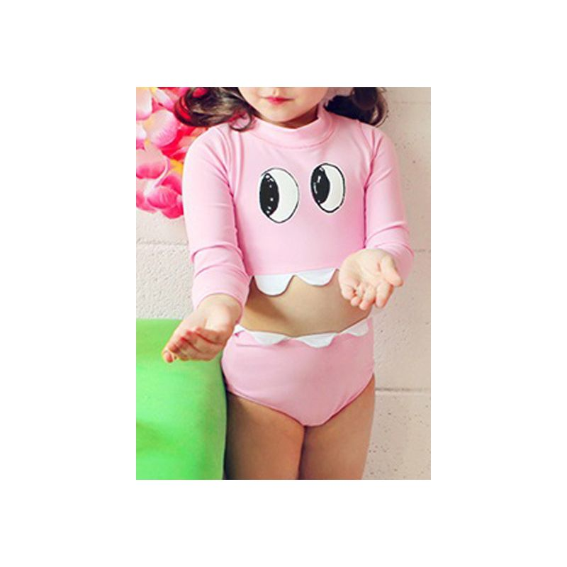 2-piece Toddler Little Girl Cartoon Sun Protection Swimwear Set