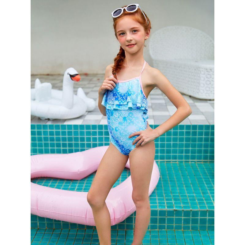 Fashion Toddler Big Girl Floral Halter Neck One Piece Swimsuit Kids Swimwear