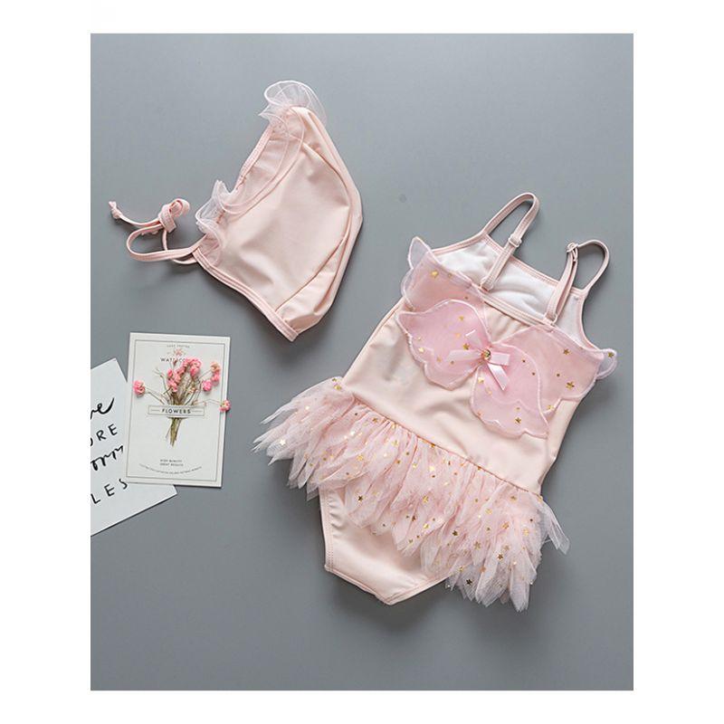 2-piece Kids Angel Wing Sequin Tulle One-piece Swimsuit + Swim Cap Set