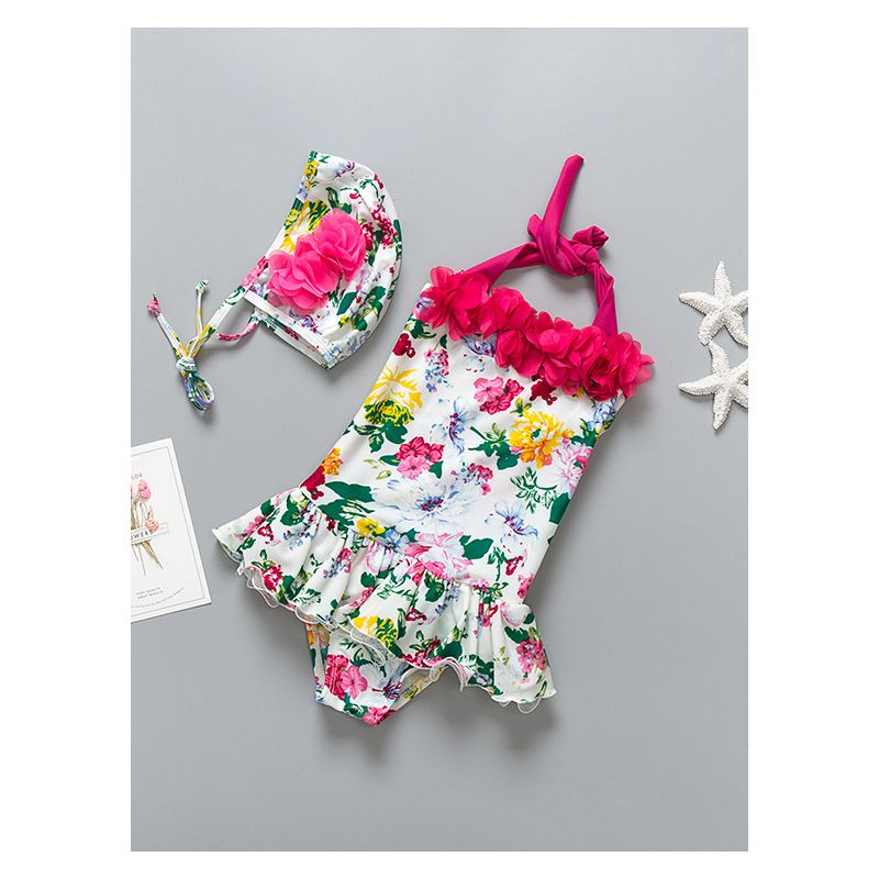 2-piece Children Flower Print Halter Neck Bathing Suit+ Swim Cap Set
