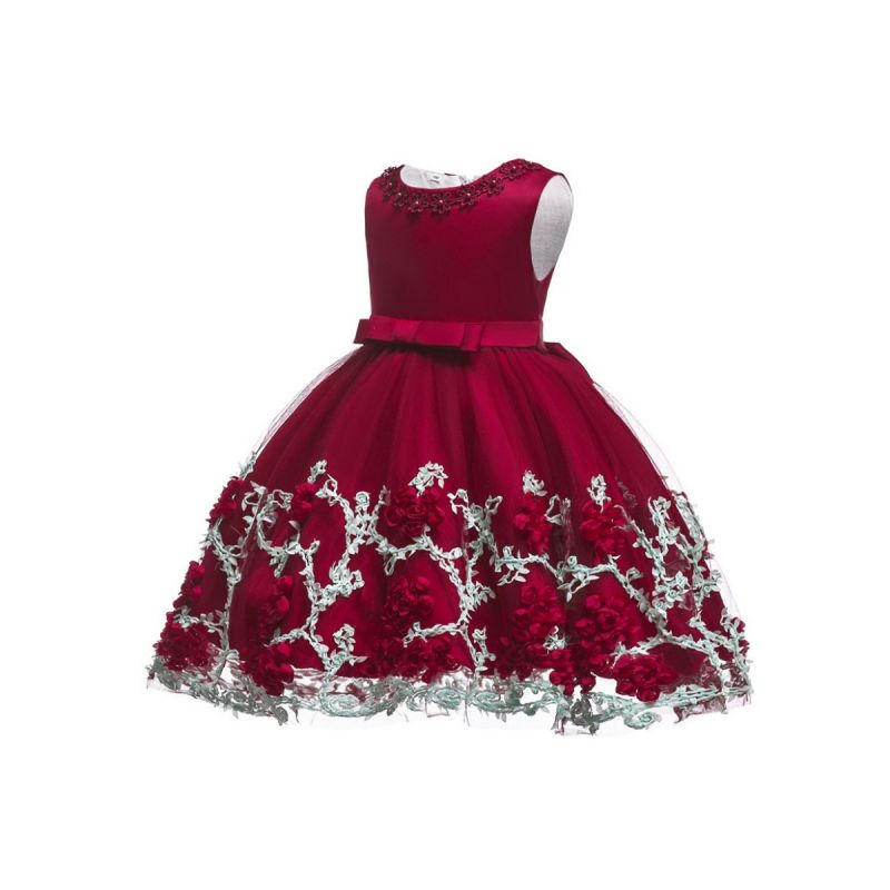 Little Big Girl Sleeveless Flower Trimmed Bow Belted Mesh Princess Bodice Party Dress Kids Formal Prom Dress Costume