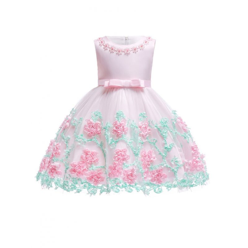 Baby Girl Flower Trimmed Bow Belted Mesh Princess Bodice Infant Occasional Dress
