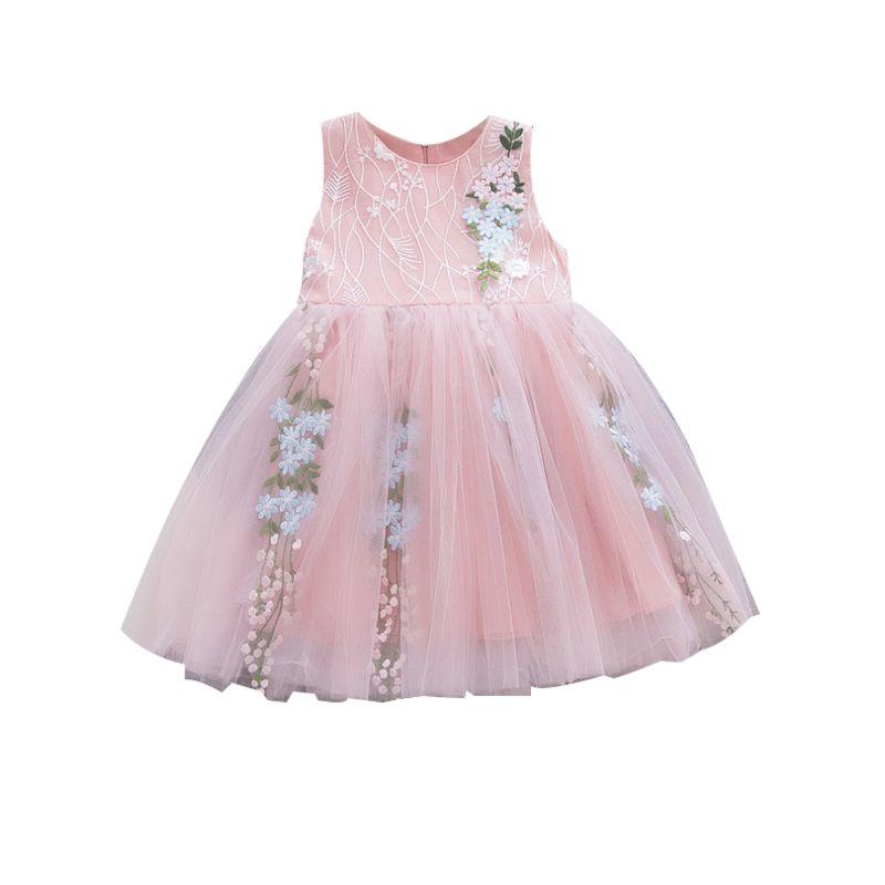 Summer Spanish Style Baby Girl Flower Sleeveless Mesh Dress Pink/White